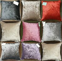 New Plain Luxury Crushed Velvet Cushion Cover With Piped Edges All Sizes