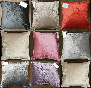 Plain Luxury Crushed Velvet Cushion Cover With Piped Edges All Sizes & Colours