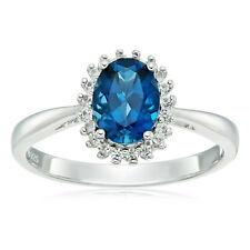 Sterling Silver London Blue Topaz and Created White Sapphire Classic Ring Size 7