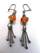 Sterling Silver 925 & Amber Dangle Earrings