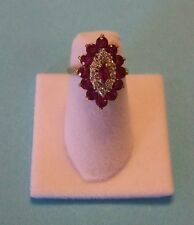 Ladies Genuine Ruby Marquise Cluster Ring & Genuine Diamond ~ 10K Yellow Gold
