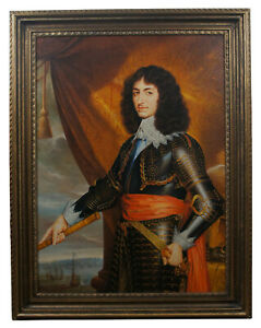 """English King Charles II Officer Portrait Oil Painting on Canvas Nautical 50"""""""
