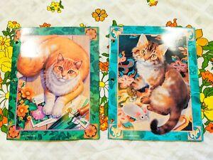 Vtg 90s Sophisticats Kitten School Folder Lot of 2 Mead Portfolio Vivian Boswell