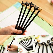 6Pcs Fun Cartoon Cat Ballpoint Pen Fountain Black Gel Ink Kids Korean Stationery