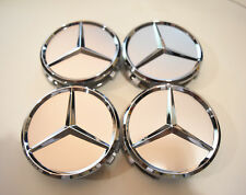 Mercedes Benz Center Caps Silver 4x 3 Inch/75mm Fits Most Models including AMG