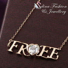 "18K Rose Gold Plated Simulated Diamond Stylish Word ""Free"" Statement Necklace"