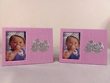 Lot of 2 Baby Girl 2x3 Picture Frames Newborn Keepsake Baby Shower Gift Pink