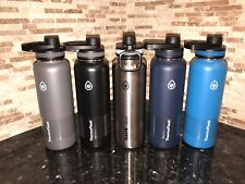 New Takeya ThermoFlask Insulated S/Steel Water Bottle 40 oz Blue Black Silver