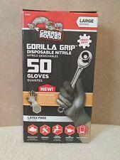 Grease Monkey Gorilla Grip Heavy Duty Nitrile Disposable Gloves Size L 50 Pk