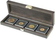 Lindner S2490-4 Echtholzkassette CARUS S mit 4 quadratischen Fächern für Münzen/
