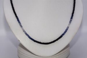 $1,000 42.00CT NATURAL RONDELLE CUT SHADED SAPPHIRE STRAND NECKLACE .925 SILVER