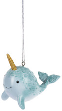Smiling NARWHAL Resin Christmas Ornament, by Ganz