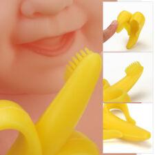 2 Pcs Baby Banana Shape Teether Training Toothbrush Infant Teething Massager