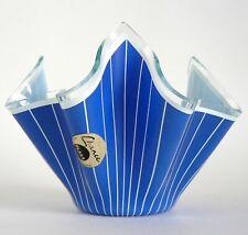 "CHANCE GLASS BLUE CORDON 4"" HANDKERCHIEF VASE PERFECT LABEL RETRO COOL POSY BOWL"