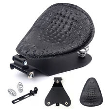 Black Alligator PU Leather Solo Driver Seat for Harley Sportster Chopper Bobbe