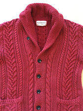 POLO RALPH LAUREN Rugby Denim Supply RRL Cable Knit Faded Red Shawl Cardigan M