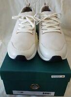 BUSCEMI Men's RUN1 Off White Cotton & Leather Sneakers US Size 12 UK 11 Euro 45