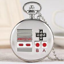 Silver Video Game Pattern Design Men Boy Quartz Analog Pocket Watch Long Chain