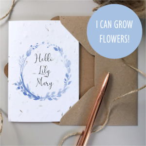 Hello World New Baby Card / SEEDED Plantable / Personalised Newborn Birth Gift