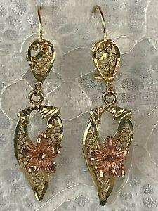 14k Yellow and Rose Gold Filigree Flower Dangle Earrings 4.2 grams