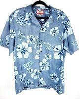 Vtg RJC Mens XL Blue Floral Hawaiian Shirt Made in Hawaii USA Inside-Out Print