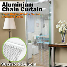 Aluminium Chain Curtain Metal Screen Fly Insect Blinds Pest Control, silver&blue