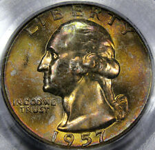 1957-D Washington Quarter Dollar Superb GEM BU PCGS MS-66... with AWESOME COLOR!
