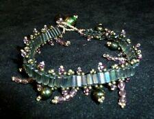 Vintage Iridescent Bead Bracelet with Dangle Charm Beads Purple, Green, Blue