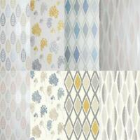 Arthouse New Metallic Finish Wallpaper in Geometric Diamond Leaf Floral  Designs