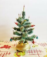 Vintage Musical Rotating Bottle Brush Christmas Tree Mercury Glass Ornaments