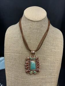 Barse Legacy Necklace- Leather & Mixed Stones- Copper- NWT