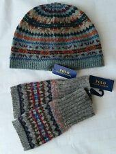 POLO Ralph Lauren 100% Wool Fair Isle Beanie Hat Multicolor + Fingerless Gloves