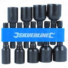 "9Pc SILVERLINE 1/4"" Hex MAGNETIC Nut Driver Set Imperial CR-V Power Drill Bits"