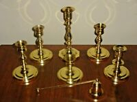 Lot of 6 Vintage Baldwin Brass Candle Holders Candlesticks & 1 Candle Snuffer