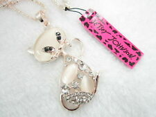 Betsey Johnson Shiny Rhinestone cat's eye stone cat pendant Necklace # H293