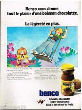 Publicité Advertising 1972 Petit Dejeuner chocolat en granulés Benco