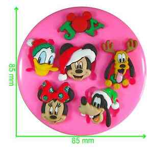 Disney Christmas Characters Mickey & Minnie Silicone Mould by Fairie Blessings