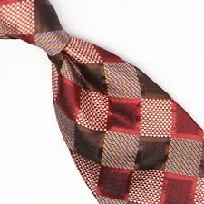 Gladson Mens Silk Necktie Red Brown Champagne Check Weave Woven Tie Italy