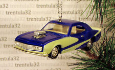 '68 CHEVY CAMARO 1968 CHEVROLET BLUE WHITE HOT ROD CHRISTMAS TREE ORNAMENT XMAS