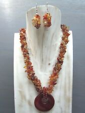 """16"""" Carnelian Nugget 3 strands Necklace with Agogo Pendant Free Earring Handmade"""