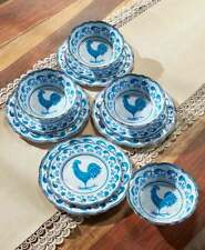 Country Rooster Melamine Dinnerware Set - 12 Piece Farmhouse Collection