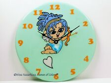"""Fused glass wall clock """"Fairy of Love"""""""