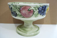 Ceramic Pottery Centerpiece Pedestal Dish Hand Made Footed Fruit Or Serving Bowl