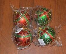 "Lot 4 Red Green Tartan Plaid Large 3.5"" Christmas Ornaments Unbreakable Glitter"