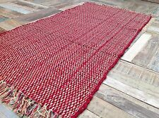 💜THICK COTTON FLAT WEAVE INDIAN CHINDI RAG RUG RED CREAM 75cm x 135cm
