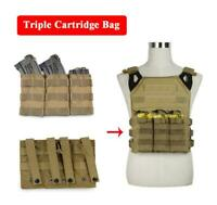 New Nylon Tactical MOLLE Triple .223/5.56mm Open Top Mag Magazine Pouch Hunting