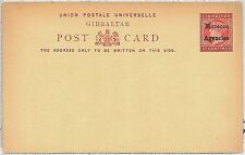 POSTAL STATIONERY -  GIBRALTAR overprinted MOROCCO AGENCIES : overprint type II