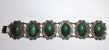 "Vintage Green Stone Antique Bracelet 7"""