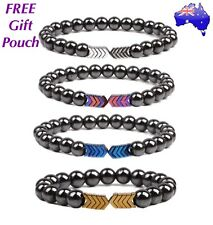 Natural Hematite Stone Arrow Magnetic Bead Bracelet Anti-Stress Anxiety Worry