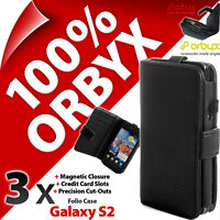 3 x Orbyx Folio Case for Samsung i9100 Galaxy S2 Wallet Cover Flip PU Leather